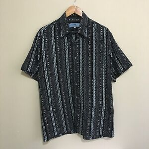 Elegance-Abstract-Vintage-90-039-s-Button-Shirt-Short-Sleeve-Adult-Mens-Large