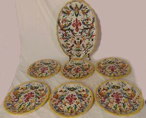 Majolica-Italian-Art-Pottery-Deruta-Cantagalli-or-Raffaellesco-Set-Plate-Platter