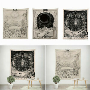 Tarot-Psychedelic-Tapestry-Wall-Hanging-Sun-Moon-Blanket-Bedspread-Mat-Decors