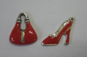 2-Charms-Shoe-amp-Handbag-For-Beading-Craft-Embellishment-Red-amp-Silver-Metal-JF259
