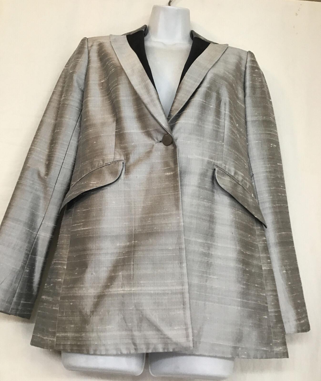 rag and bone  Suit Jacket silver gray silk peak s… - image 3