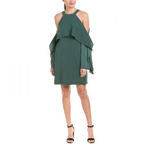 BCBG MAX AZRIA Womens Tristyn Green Foliage Cold Shoulder Mini Party Dress NWT