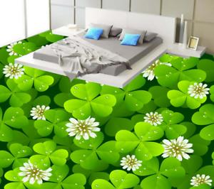3D Tréboles Flores Papel Pintado Mural Parojo Impresión de suelo 53 5D AJ Wallpaper Reino Unido Limón