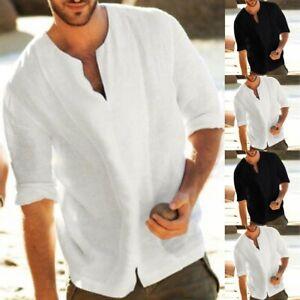 Men-039-s-Linen-3-4-Sleeve-Baggy-Shirt-Summer-Cool-Blouse-Loose-V-Neck-Shirts-Tops-C