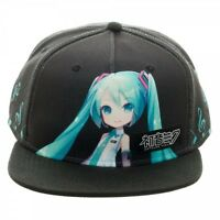 Vocaloid Hatsune Miku Anime Black Snapback Cap Hat W/ Tag Official Bioworld
