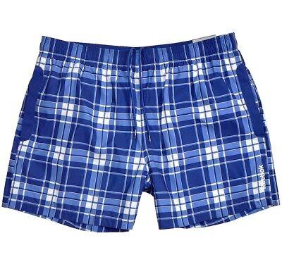 Reebok Check Boxer Badeshorts Herren Badehose Shorts Bermuda Kariert Blau/weiss Direktverkaufspreis
