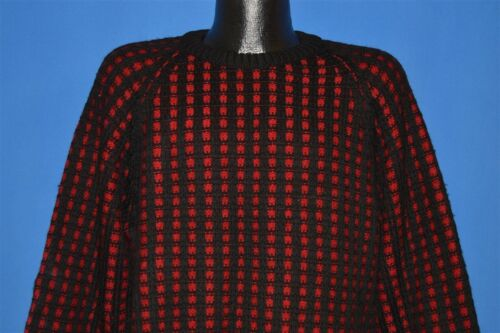 vintage 40s JAEGER ALL WOOL BLACK RED RIB NOVELTY