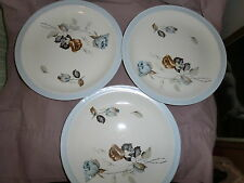 "Set of 3 Alfred Meakin England  Glo-White ""Sapphire Rose"" Pattern Salad Plates"