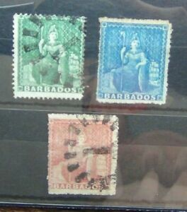 Barbados-1860-1-2d-Green-1d-Blue-4d-Red-Used