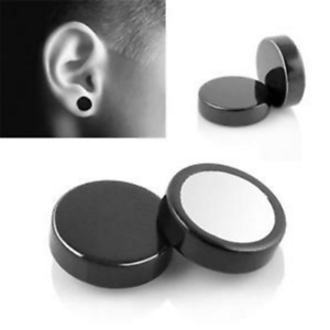 755aad9a0d124 Details about 2pcs Steel Punk Mens Women Non-pierced Clip On Round Magnetic  Stud Earrings