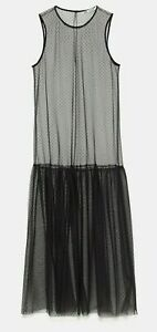 ZARA-WOMAN-NWT-SALE-DOTTED-MESH-TULLE-DRESS-BLACK-SIZE-M-REF-7563-242