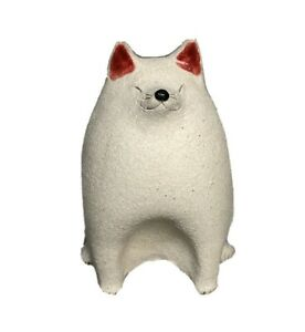 "OOAK Chubby White 6.5"" Cat Figurine Original Art Pottery Textured Kitty Signed"