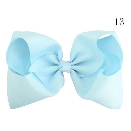 8 Inch Large Hair Bows Girls Grosgrain Ribbon Knot Clip Hair Accessories Gift Vb