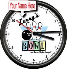 Bowling Alley Personalized Your Name Lucky Lounge Bowler Gift Sign Wall Clock