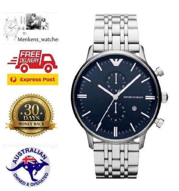 Brand new in box Emporio Armani Silver Quartz Men's Gents AR1648 Watch Blue dial
