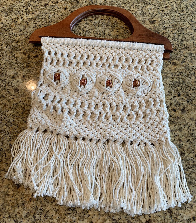 Macrame Vintage 1960s Handbag with Bamboo Handle and Gold Tone Frame  Crocheted Bamboo Purse Boho Chic Midcentury Purse