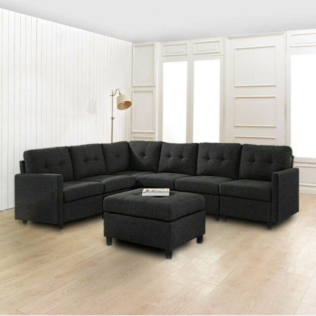 7 Pcs Sectional Modern Sofa Set Couch Microsuede Reversible Chaise Ottoman  USA