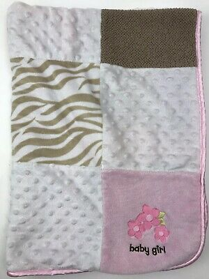 Carters JUST ONE YOU Pink Tan White Patchwork Square Baby Girl Minky Dot BLANKET