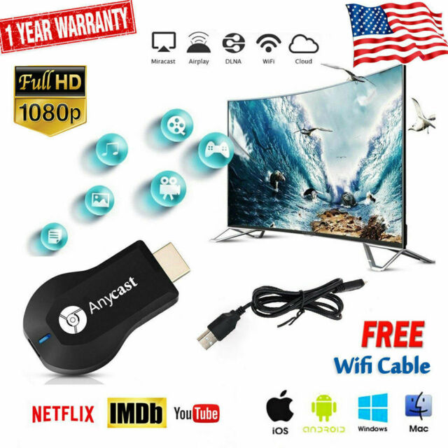 AnyCast M9 Plus WiFi Display Dongle Receiver HD 1080p TV DLNA Airplay  Miracast