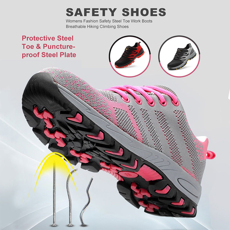 Womens Safety Steel Toe Work Boots Female Breathable Hiking