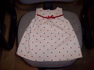 6a5036ba0 Healthtex baby girl infant Blue Red polka dot corduroy dress 12M