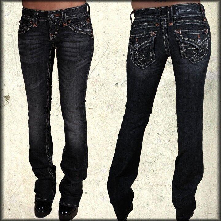 Rock Revival Gwen Gold Stich Blaume Damen Pattentasche Gerade Jeans Schwarz 25