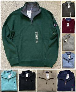 NWT-Men-039-s-Polo-Ralph-Lauren-SWEATER-Quarter-Half-Zip-Sweatshirt-S-M-L-XL-XXL