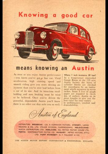 """1951 AUSTIN 4 DOOR A4 CANVAS PRINT POSTER 11.7""""x8.3"""""""
