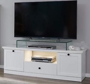 TV-Lowboard Fernsehtisch in weiß Landhaus TV-Gerät Unterteil 139 x 49 cm Baxter