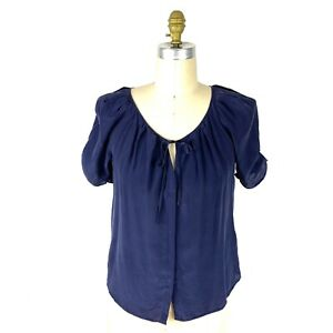 Joie-Berkley-Silk-Top-Size-Small-Womens-Navy-Blue-Tie-Neck-Short-Sleeves