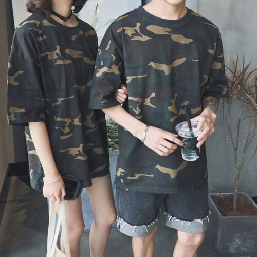 Women//Men Casual Camouflage Loose Tops Half Sleeve Round Neck T-Shirt Shirts Top