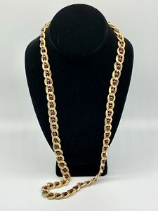 Vintage Napier Chain Link Gold Tone Matte Textured & Bead Necklace 28 1/2 Inches