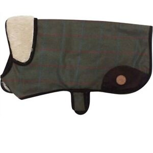 Country-Pet-Outdoor-Stylish-Green-Tweed-Fur-Collar-Dog-Coat-Jacket-5-sizes