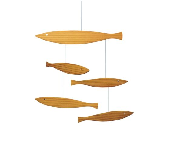 FLOATING FISH - FLENSTED HANGING MOBILE KINETIC ART DANISH MODERN DENMARK