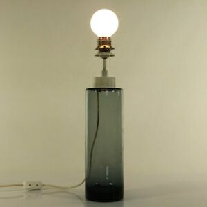 Tisch-Lampe-Doria-Glas-Fuss-Leuchte-Turmalin-Vintage-Glass-Lamp-60er-70er-VTG
