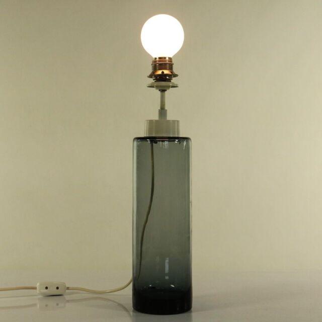 Tisch Lampe Doria Glas Fuß Leuchte Turmalin Vintage Glass Lamp 60er 70er VTG