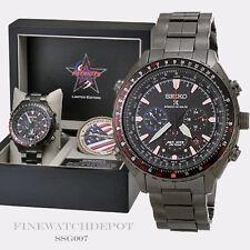 Authentic Seiko Men's Radio Sync Solar Chronograph Patriots Jets Watch SSG007
