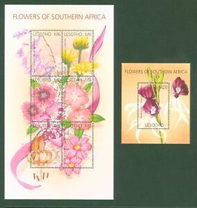 Lesotho-2002-Blumen-Herzblume-Ringelblume-Nelke-Lilie-Nr-1845-50-Block-189