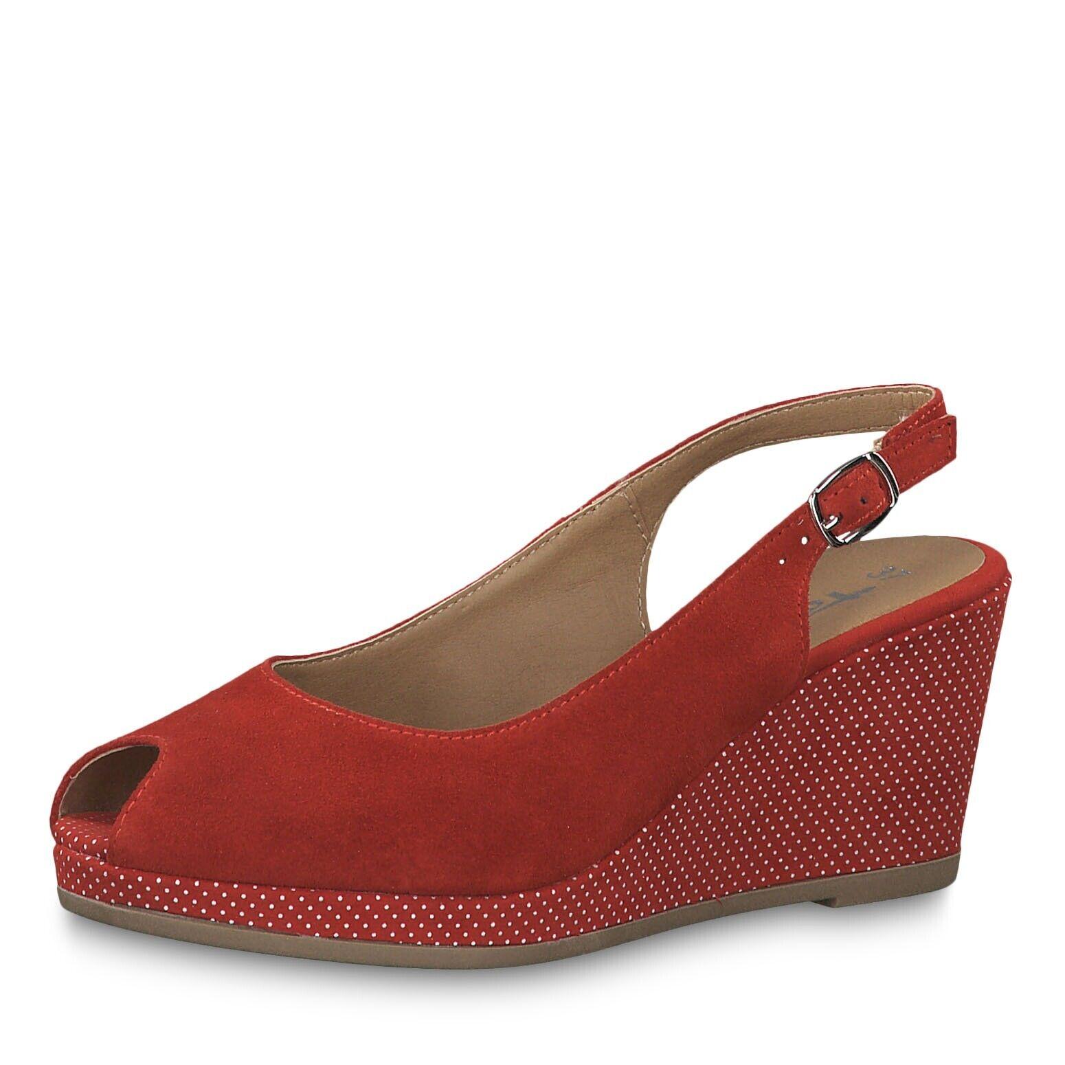 Tamaris 29303 rot Suede & Weiß Polka Dots 40& 039;s Inspirot Peep Toe Wedge Sandal