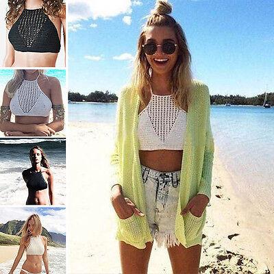 Beachwear Halter Crop Tops Bikini Hollow Tank Vest Strap Crochet Bra Wholesale