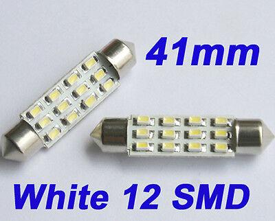 2 Auto KFZ Weiß 12 SMD LED Lampe Soffitte 41mm für Innenraum Light 12V
