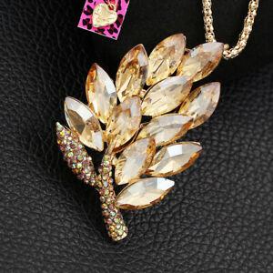 Women-039-s-Crystal-Rhinestone-Leaf-Pendant-Chain-Betsey-Johnson-Necklace-Brooch-Pin