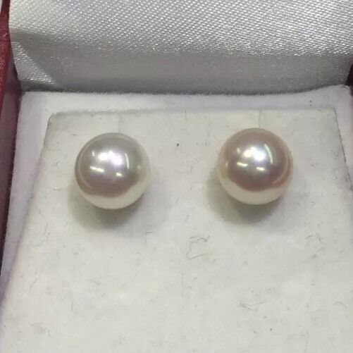 8mm Freshwater. And gold Earings