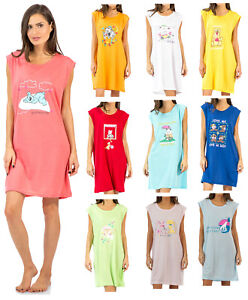 Casual Nights Women/'s Sleeveless Printed Sleep Tee Shirt Rainy Days Aqua