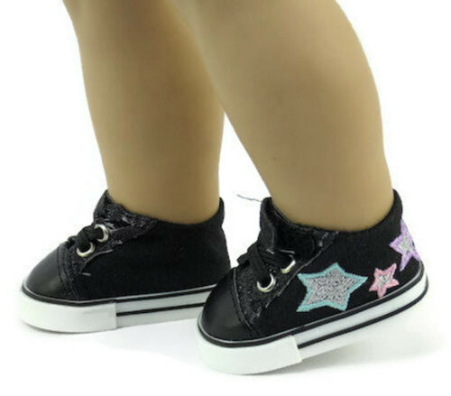 """Black Glitter and Stars Tennis Shoes Sneakers for 18/"""" American Girl Doll Clothes"""
