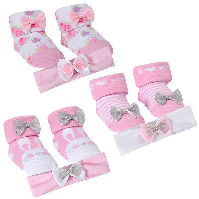 Baby Ragazze 3 Pezzi Set Regalo Calzini E Fascia Per Capelli Bambini Floreale A Strisce Bunny Scarpe- Per Prevenire E Curare Le Malattie