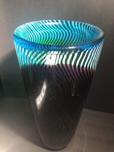 Dino Martens Murano Swirl Blown Art Glass Vase Blue, Green Purple White Ribbon