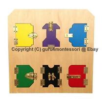 HOT Holiday Gift!  Montessori Practical Life- Wooden Lock Board with 6 Locks