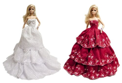 White & Red Strapless Layered Wedding Gown (2 Gown Set) for 11.5 inches Doll