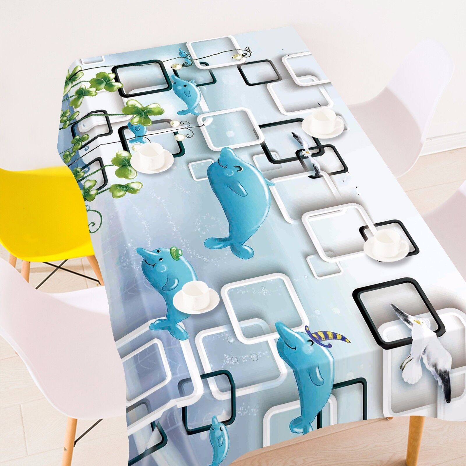 3D Dolphin 881 Tablecloth Table Cover Cloth Birthday Party Event AJ WALLPAPER AU